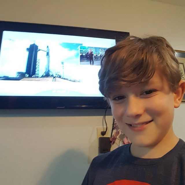 #CursedChildNYC kid Malcolm watching the recent SpaceX launch!