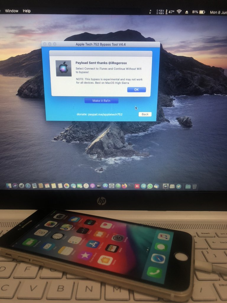 Crack My Apple On Twitter Iphone 6 Ios 12 4 7 Bypass With Silver V4 4 Running On Macos Catalina 10 15 6 Successfully Thank You Sir Appletech752 Great Tool Https T Co Jqmc4regrh