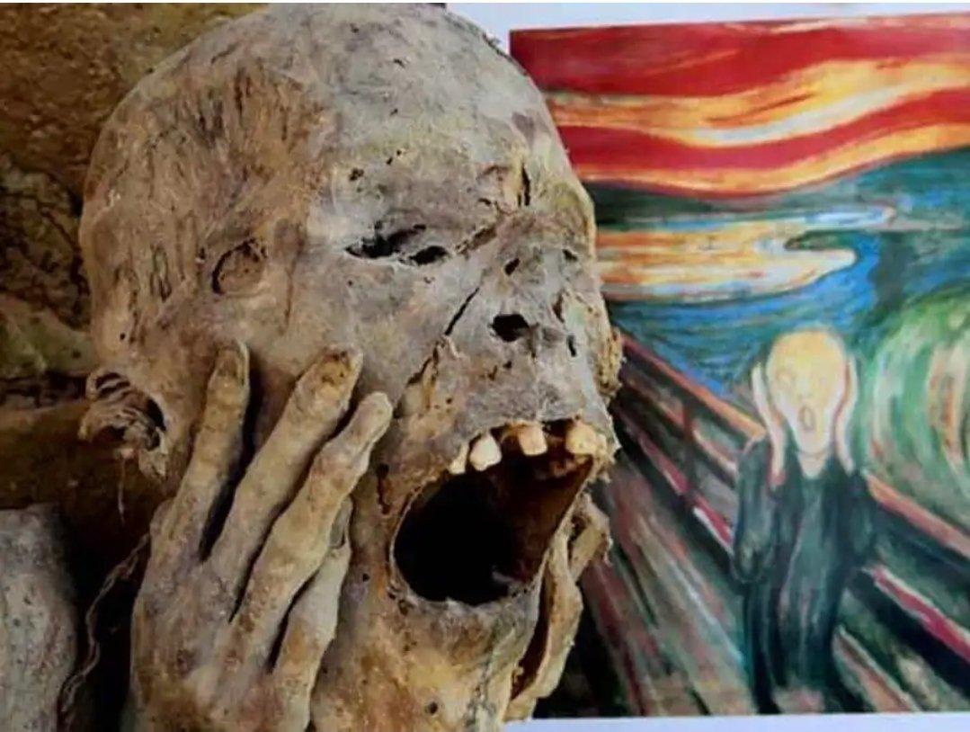 """Panenka Sport on Twitter: """"Edvard Munch tabloyu yaptığı sıralarda, başarısızlık, hastalıklar ve karşılıksız bir aşk ile savaşıyordu. Özellikle, adamın köprü önünde olması intihar ile ilişkiliydi. Tablodaki adam için mumyalanmış Peruvian Mummy'den ilham"""