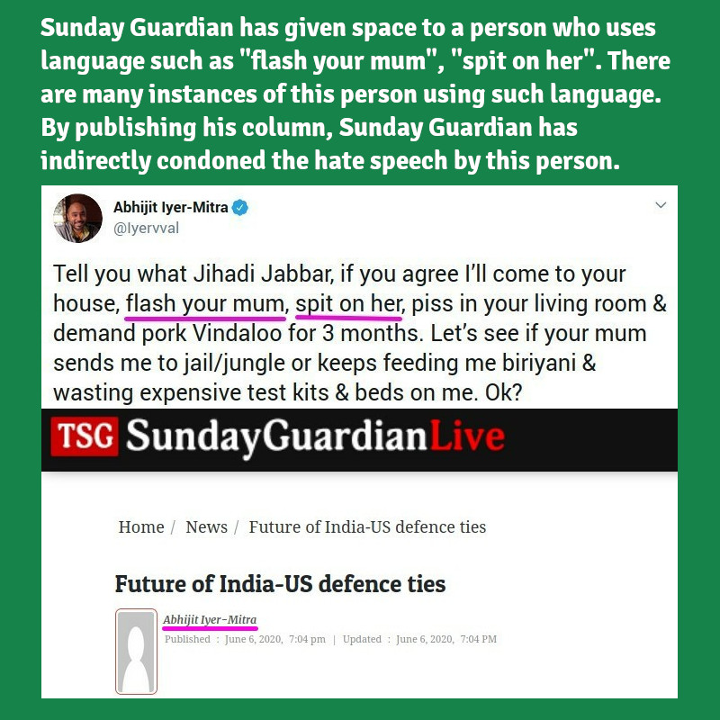 "On June 6, @SundayGuardian published a column by a person who uses language such as ""flash your mum"", ""spit on her"". Lets tag @SundayGuardian and remind them of all instances of objectionable speech by this person and help them know their columnist better. https://t.co/RTCLgo9BW0"