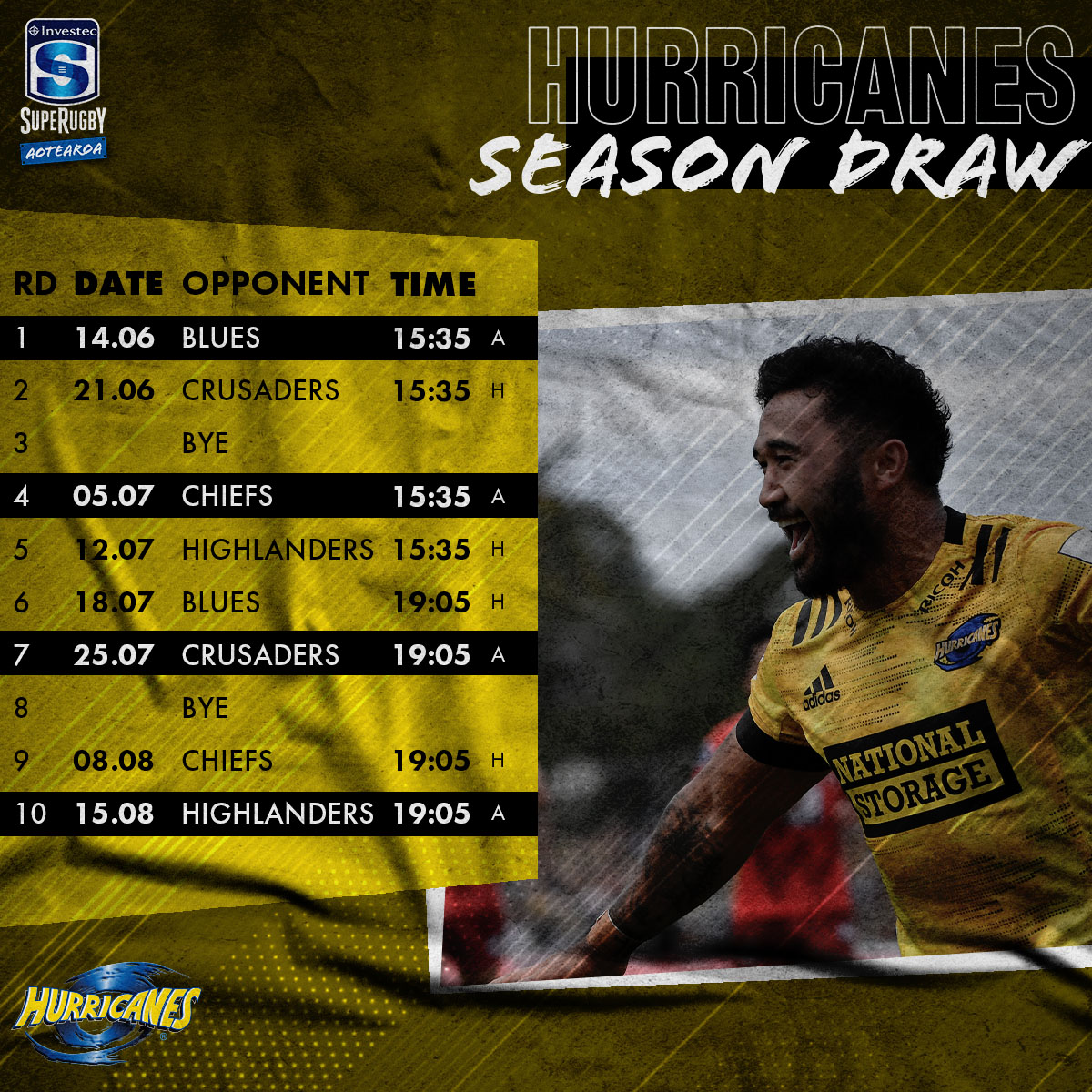 📆 Clear your diaries @Hurricanesrugby fans...here is your Investec #SuperRugbyAotearoa schedule.