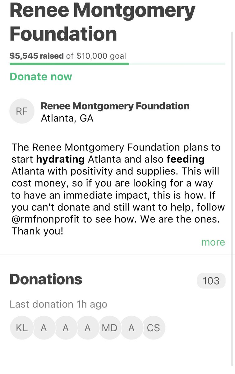 For tonight's nightly update, I'd like to show love to my teammate @KristenLedlow and my GM @csienko11 for their words of encouragement and also thank you for your donations! 🙏🏾   @RMFnonprofit   #BlackLivesMatter #MatchAMillion #AtlantaProtest #WeAreTheOnes https://t.co/2fN48z3uSu