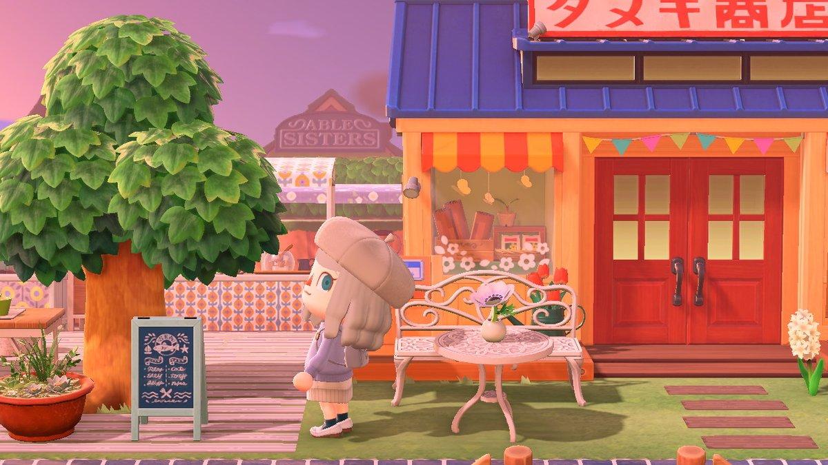 タヌキ商店に隣接してるカフェスペース夕暮れ時の島の雰囲気も好きです~♪#あつ森写真部 #エルの島 #マイデザ #マイデザイン #あつ森 #あつまれどうぶつの森 #どうぶつの森 #AnimalCrossing #ACNH素敵なdesignお借りしてます~♪