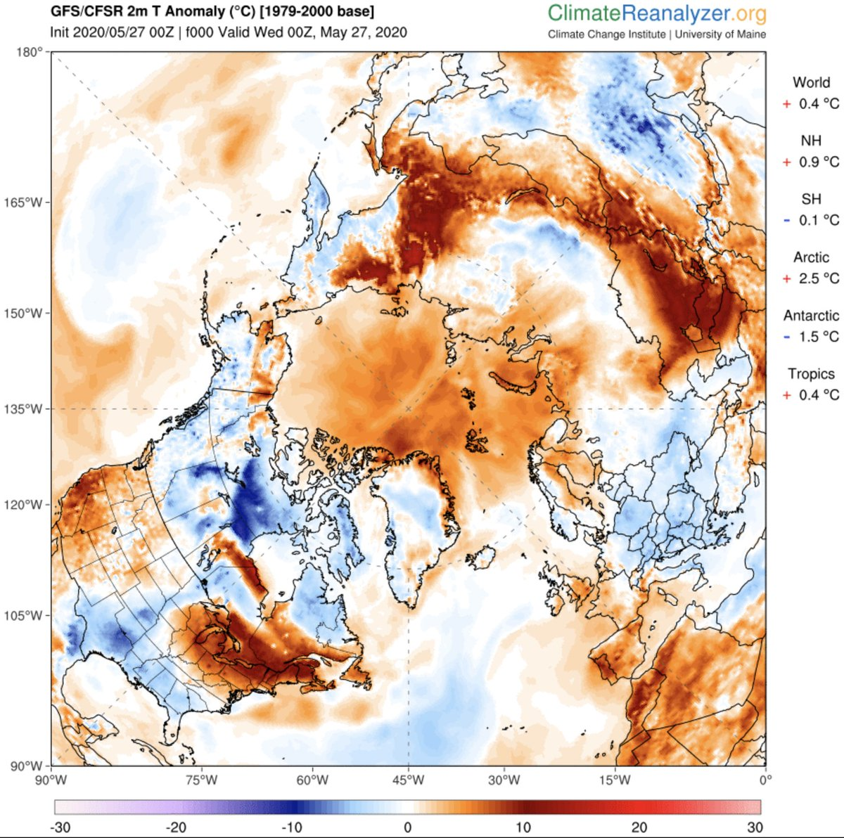 Watch the 10 day forecast for the #arctic at the link below: climatereanalyzer.org/wx/fcst/#gfs.a… The entire shoreline from the Kara Sea to the East Siberian Sea & all the GHG packed permafrost contained therein will undergo what can only be described as BROILING for the entire 10 days. #FFS