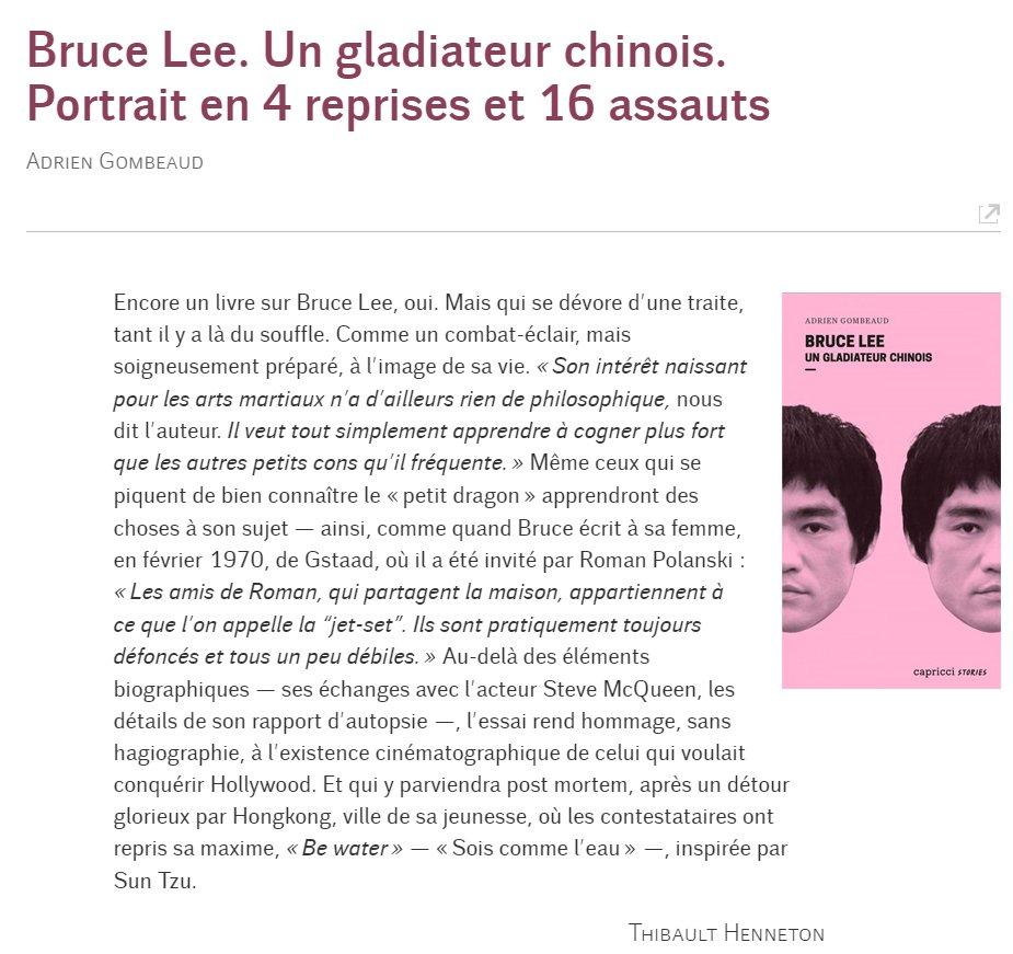 Papier dans Le Monde diplomatique sur le livre d'Adrien Gombeaud sur Bruce Lee https://t.co/fuKfYroGu3