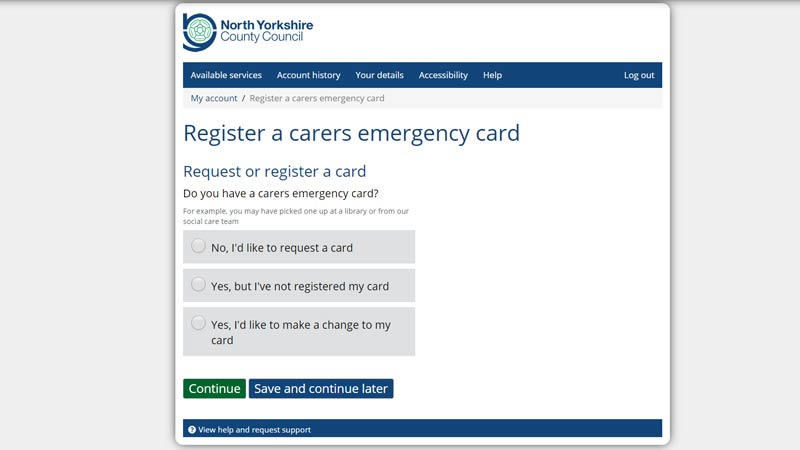 The carer's emergency card is 24-hour emergency cover for anyone over 18 who cares for someone in #NorthYorkshire.  If you have an accident or cannot identify yourself we'll get in touch with your emergency contact or take appropriate action.  ➡️