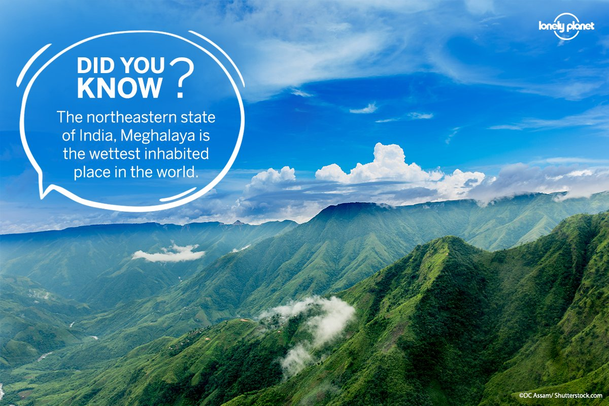 Mawsynram, located in the Meghalaya State in India, is the wettest place in the world. It receives an annual rainfall of 11,871 millimetres. Just 10 miles away, the village of Cherrapunji comes in second. Share #WednesdayWisdom fact with your friends & make them aware of this. pic.twitter.com/mJ3DJ48xVq