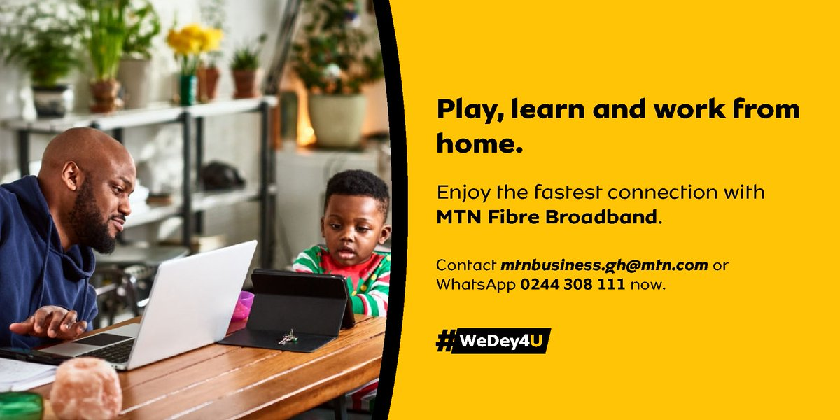 Connect your home and businesses to reliable and super-fast internet with MTN Fiber broadband. Visit https://t.co/oVeWRPCtA7 or dial *5057# to sign up. #WeDey4U #MTNFiberbroadband https://t.co/gTj3tmggt5