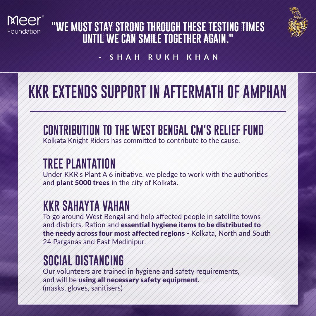 """The people of #Kolkata and #WestBengal have embraced #KKR and extended their love and unconditional support over the years. This is a small effort on our part to provide some relief to those affected"" - @VenkyMysore   #Cyclone #Amphan #PrayForWestBengal #KorboLorboJeetbo #KKR<br>http://pic.twitter.com/ES2uHK1Yq7"