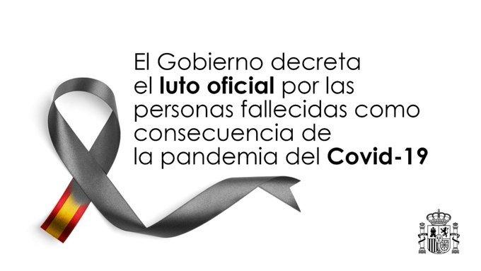 Hoy ha comenzado un luto oficial por los muertos por coronavirus en #España que durará un total de 10 días, el más largo de la historia de la democracia en España. https://t.co/dRLv3BxRWt