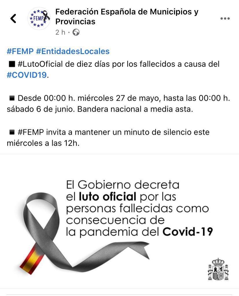 A las 12:00 el Ayuntamiento de #Soria se suma a la convocatoria de @fempcomunica. Un minuto de silencio y #LutoOficial en #España por las víctimas de #COVID__19. https://t.co/8vfm9Sx05d