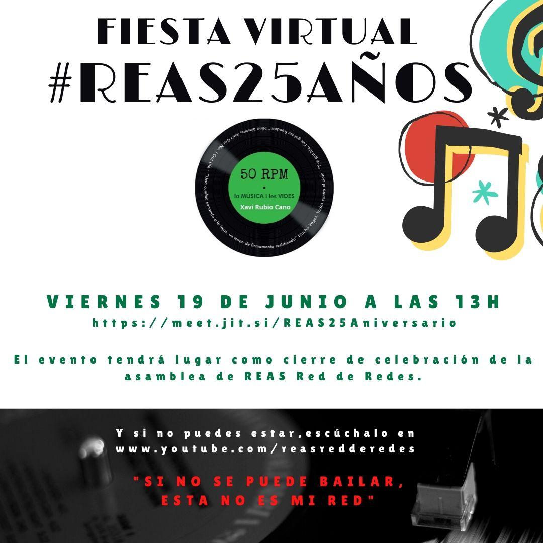 Os invitamos a esta fiesta virtual para celebrar los 25 años de REAS y la #EconomíaSolidaria. Anota en la agenda el evento y propón temas para la lista musical.   Toda la info aquí. Os esperamos! 👉https://t.co/jAadl3CjNp https://t.co/FLTE7nNVRC