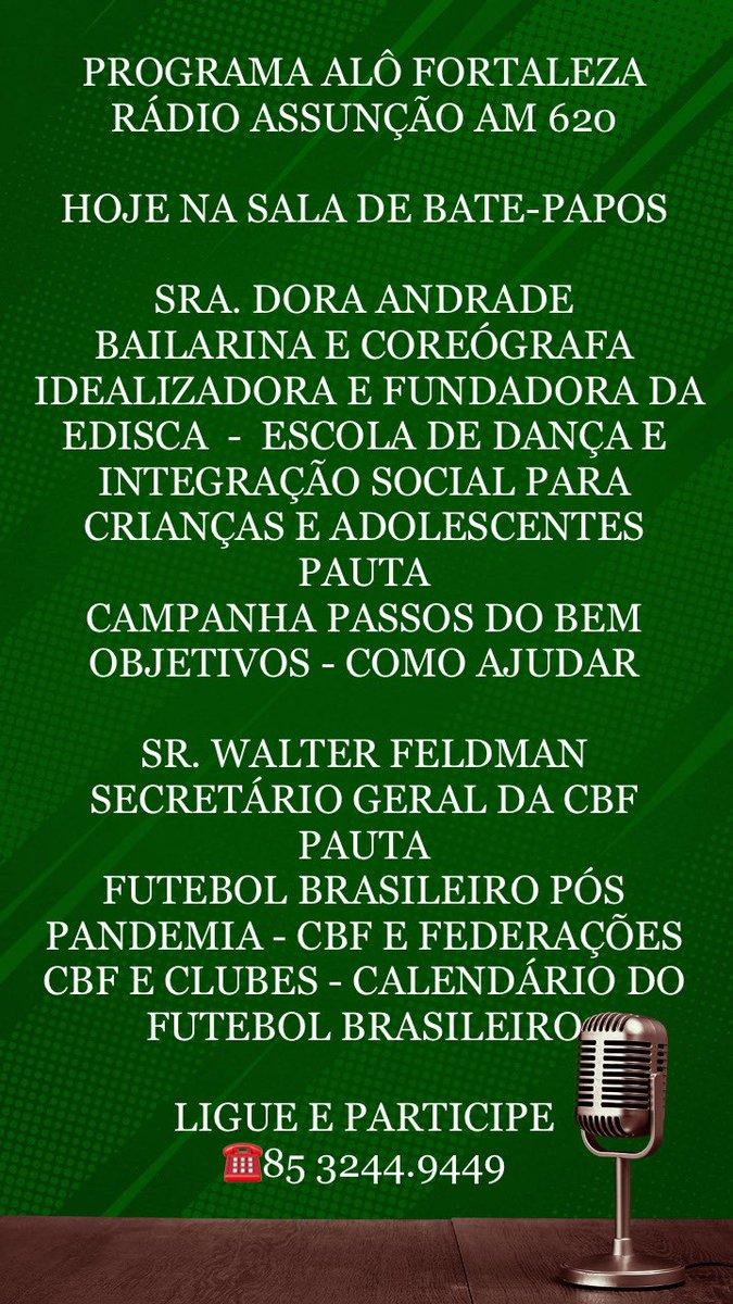 Programa Alô Fortaleza !!! Rádio Assunção AM 620 !!! pic.twitter.com/XMni50wz6j