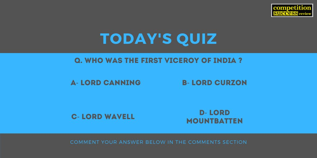 Comment the answer in the comments section. The correct answer will be posted by 6 PM today. #CSRQuickPrep #CSRMagazine #Competitionsuccessreview #CurrentAffairs #currentaffairsupsc #CurrentAffairsQuiz #QuestionOfTheDay #upsc #upsc2019 #upsc2020pic.twitter.com/kYmBSw2l1d