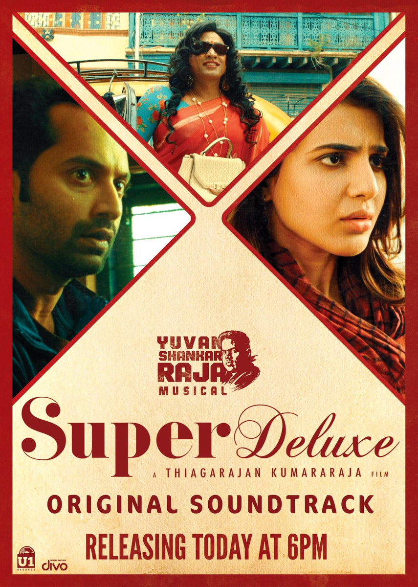 The Soundtracks of #SuperDeluxeOST is going to be way more interesting than expected! Releasing Today at 6PM on @U1Records. Stay Tuned!  #SuperDeluxe @thisisysr @itisthatis @VijaySethuOffl @Samanthaprabhu2 @tylerdurdenand1 @SGayathrie @divomovies https://t.co/leVC9YIzYr