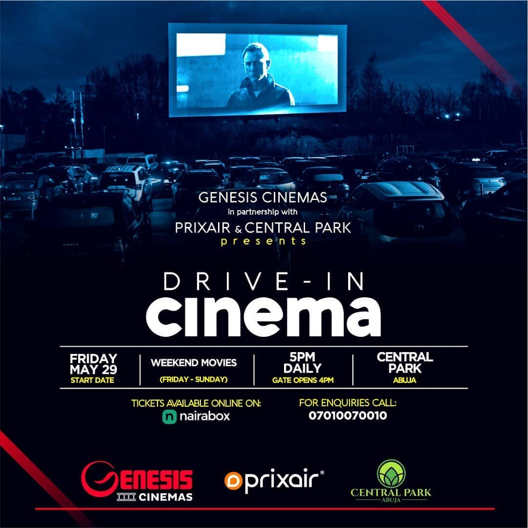 This Weekend!!! Genesis Cinemas in partnership with @prixair_media and @centralparkabuja brings the #DriveInCinema to the city of #Abuja. Wow right  . Hurry now!! Get your ticket online on @nairabox It's gonna be a #MoreThanMovie experience. See you there!pic.twitter.com/5CYXZSQSjB
