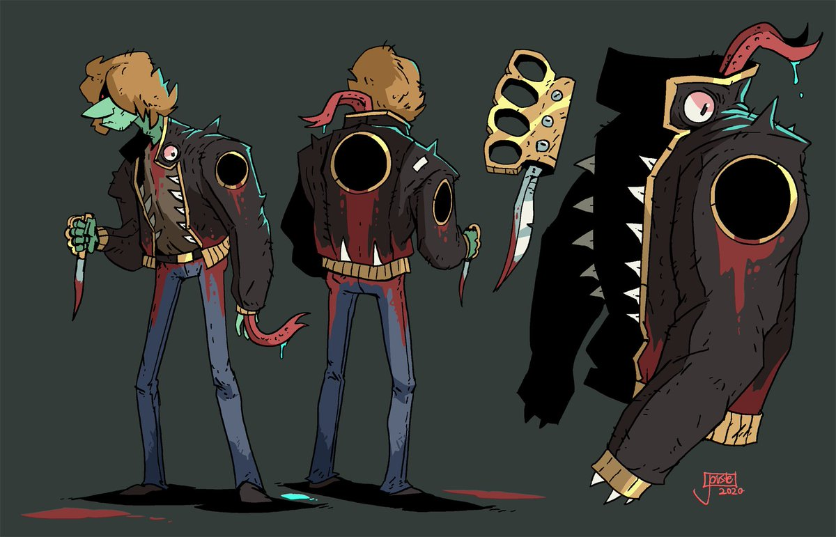 The Gold Ring Gang! Horrible carnivorous jackets control a group of greasers down by the docks! They feed off of the blood from the constant rival gang rumbles and you might even say that these jackets are quite tasteful. #characterdesign pic.twitter.com/DQbxAT8cFA