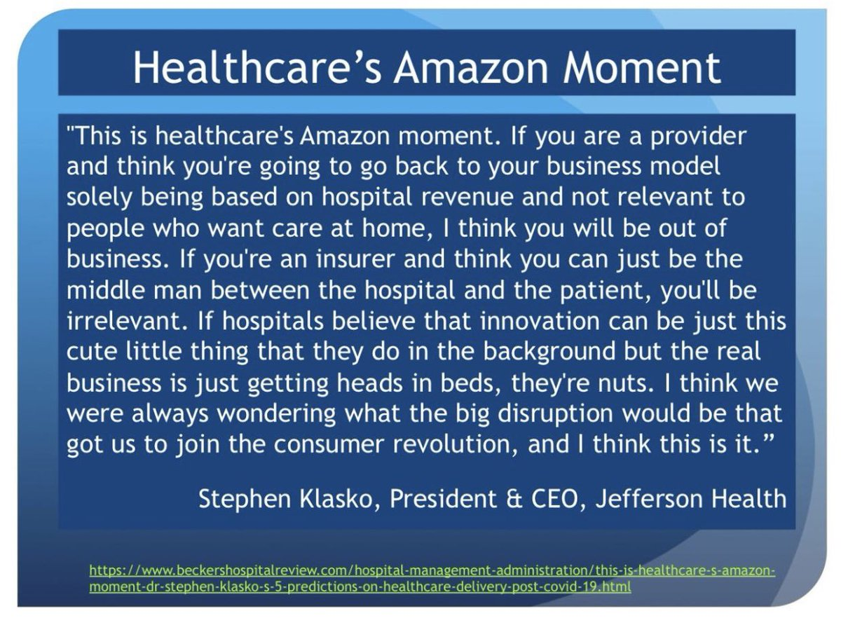This: #healthcare's #Amazon moment - there is no going back! #Telemedicine will be an integral part of medicine, #telehealth is how we will help populations achieve & maintain #health. @ElectronicCare has been ahead of the curve, now industry's catching up. @tdohrmann #TelemedNow
