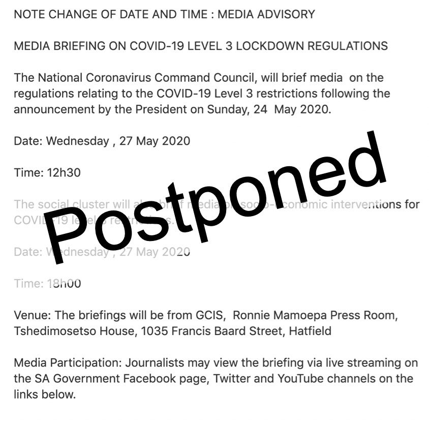 The NCCC media briefing on the regulations relating to the COVID-19 #Level3restrictions scheduled for today at 12h30 and the briefing by the social cluster scheduled for 18h00 have been postponed.   The new date & time will be announced in due course https://t.co/Zm8E9TSfPL
