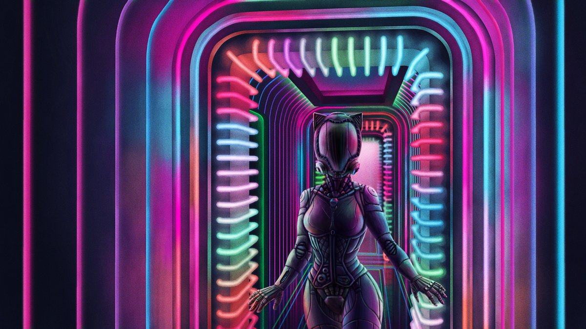 A sort of cyberpunk piece I did a couple of years ago. Think it holds up pretty well.   #cyberpunk #neon #cyborg #woman #helmet #cat #hallway #digitalart #artpic.twitter.com/ULTX8idQXg