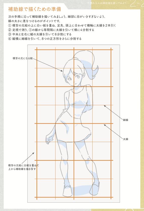 描き方がわかりません… →描きたいイメージに近い素材を探してください。 それを見ながら描いてください。 以上!!全ての描き方終わり… その時に細かい部分を見過ぎり、目や顔など意識しすぎる部分がバランス悪くなる。 正しく見るため水平、垂直の補助線が役立つ。 大きさ、角度が分析しやすくなる