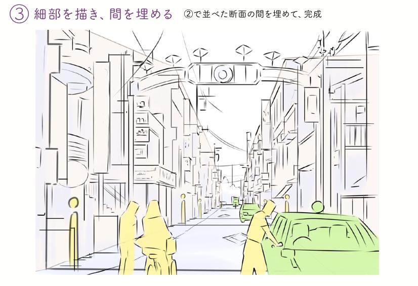 風景はどうやったらかけますか? 発想は同じです。 フレームに対して天地左右の面に分けてその面比で見ます。 全体→中間→細部とかき分けていきます。 「なんでも描ける」はホラではない!!  『アニメ私塾流 最速でなんでも描けるようになるキャラ作画の技術』https://t.co/LvrckUkE4T