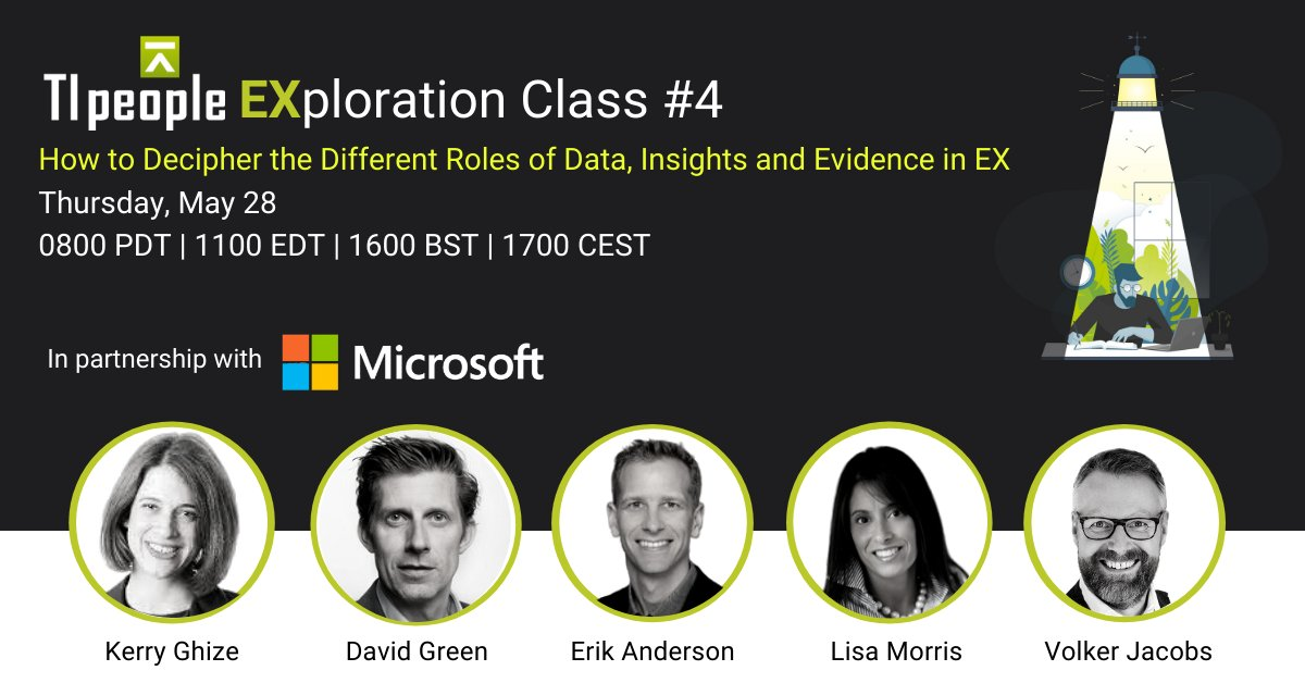 Get a framework for deciphering the different roles of #data, insights and evidence in #EX in a free #TI People webinar on Thursday! We'll also explore the world's largest data pool on people behaviour in the workplace! https://t.co/mJ9hOSv3U5 #Microsoft365 #EmployeeExperience https://t.co/dtNapjWfx6