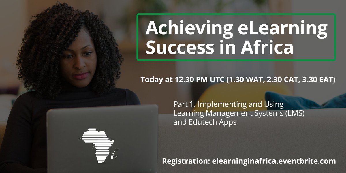 Happening today at 12.30 PM UTC is our webinar on learning management systems and edutech apps. Register to receive the connection links: http://elearninginafrica.eventbrite.com #edutech #elearning pic.twitter.com/4AZXa3AJlB