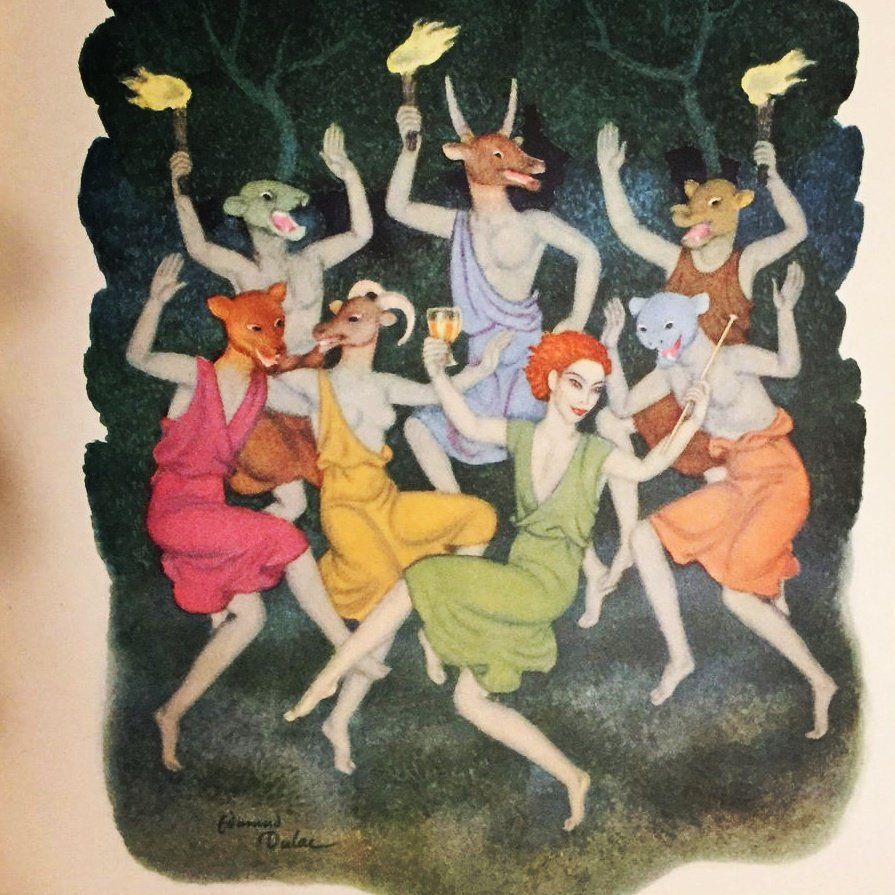 27 May is feast of #Comus: #Greek god of #dragqueens #clubbing #partying #dalliances #frivolities. Art by #EdmundDulac shows him in red wig, green frock. He is a son of #Dionysus, which means he is a scion of #Antinous, who is oft equated with #Dionysos. https://antinousgaygod.blogspot.com/2020/05/we-celebrate-feast-of-comus-greek-god.html …pic.twitter.com/CyN9AIR4QO