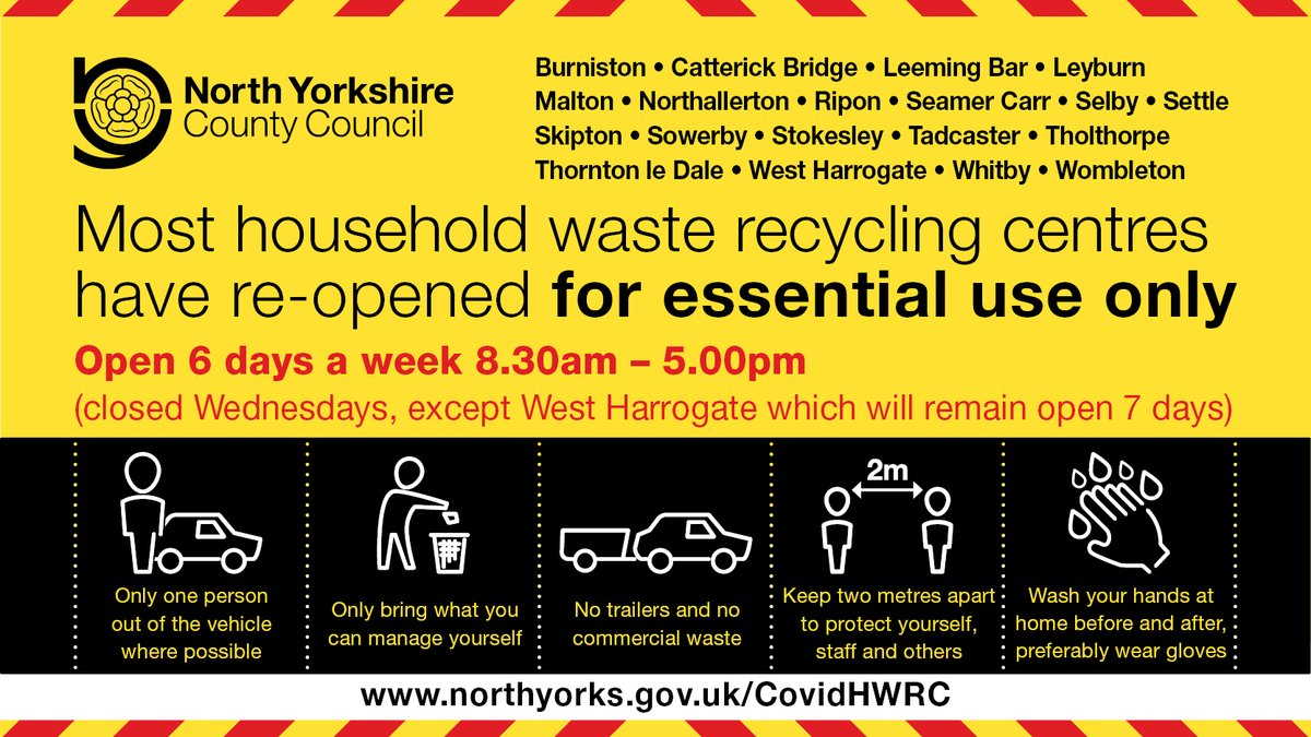 Remember the majority of our household waste recycling centres are closed today (Wed) as they've now reverted to their normal opening hours of 8.30am - 5pm, 6 days a week.  West #Harrogate will stay open 7 days a week while Harrogate Stonefall is closed.