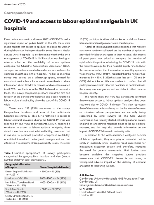 "🔐COVID‐19 and access to labour epidural analgesia in UK hospitals.  ""...this snapshot survey provides reassurance that COVID-19 is not having a widespread adverse impact on the delivery of epidural analgesia to labouring women."" @noolslucas  🔗https://t.co/HNxUO3et9n https://t.co/sitoJJqCZx"