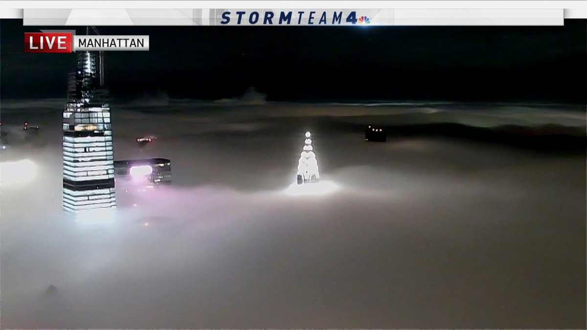 The Chrysler building peeking through a blanket of fog that is covering up most of the #NYC right now... #NBC4NY