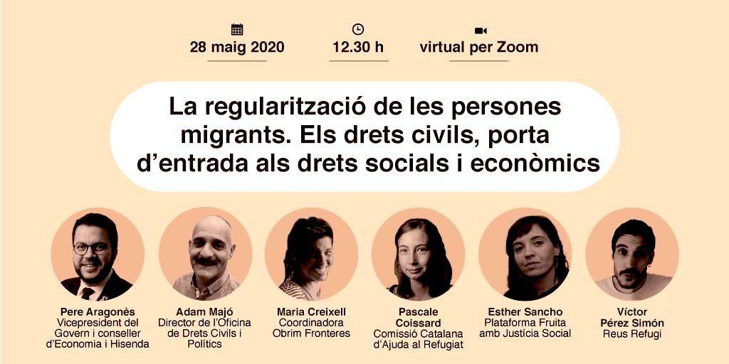 """✊Juntament amb altres col·lectius antiracistes, demà participarem de la taula """"La regularització de les persones migrants"""".  👉 Les administracions no poden seguir donant l'esquena a #RegularitzacioXTotes #RegularizacionYa. És una qüestió de drets!!  📝 https://t.co/1Ks22CkWht https://t.co/Y2WSBLBhJc"""