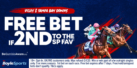 FREE BET on horses if 2nd to the SP fav at Vichy (starts 11.40am) & Tampa Bay Downs (starts 6pm) today! 📹 Live streaming available. Opt in 👉 squeez.biz/18987 #racing