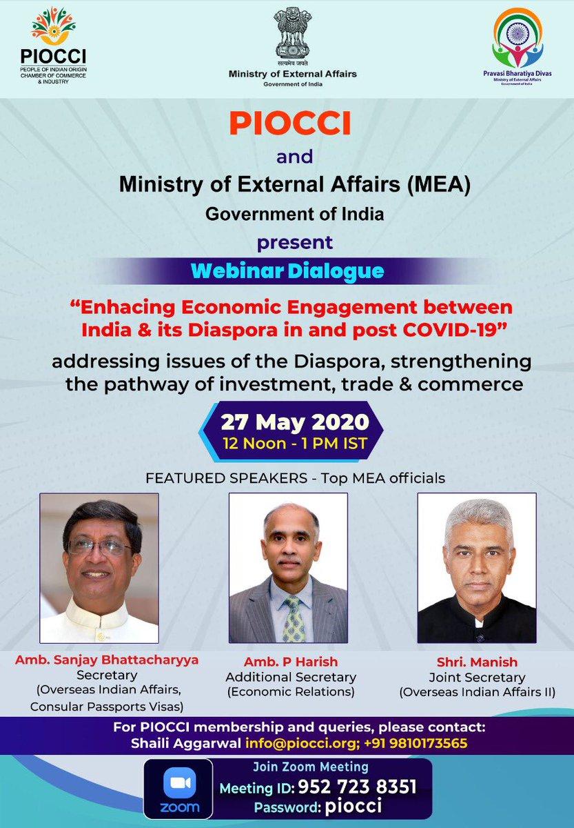 @MEAIndia & @piocci held Webinar-Enhancing Eco. Engagement btwn India & Diaspora in & post Covid-19. Sh.Sanjay Bhattacharya Sec(CPV&OIA)@SecySanjay spoke abt India's response to combating Covid-19 & India's economic agenda post Covid-19 #AtmaNirbharBharat @DrSJaishankar @MOS_MEA