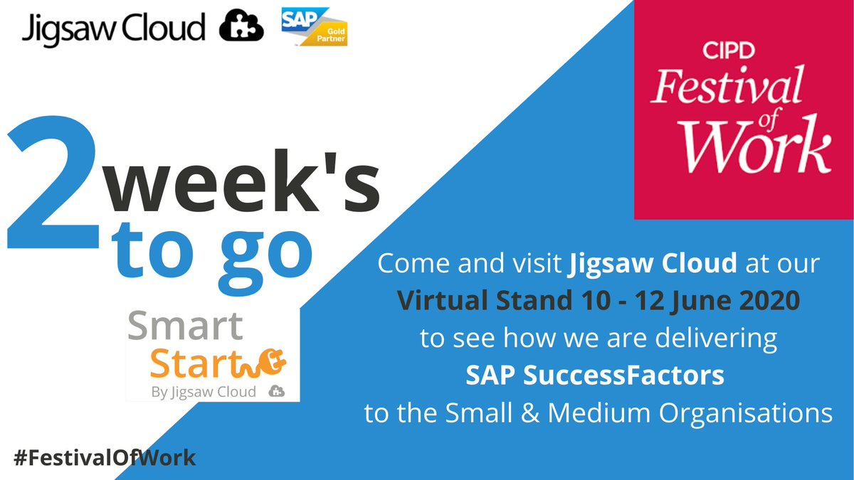 We have successfully delivered SAP SuccessFactors to companies with as little as 100 employees!! Come and visit our #virtual stand and speak with our #experts on how we get you started on your HR Transformation #cipd #festivalofwork #successfactors #sap #hr #hrtransformation