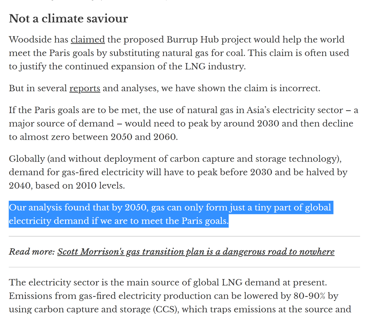 Appendix 2 - this great  @BillHareClimate piece showing how Woodside Energy's new Burrup Hub fossil gas extraction scheme would eat up 7-10% (!!!!!) of Aus' 2018-2050 carbon budget. Jeez. Some eye-opening stats here:  https://theconversation.com/a-single-mega-project-exposes-the-morrison-governments-gas-plan-as-staggering-folly-133435?utm_source=twitter&utm_medium=organic