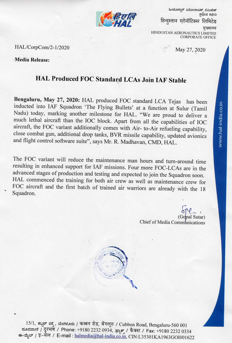 HAL Produced FOC Standard LCAs Join IAF Stable @drajaykumar_ias @DefProdnIndia @SpokespersonMoD @PTI_News @IAF_MCC @gopalsutar