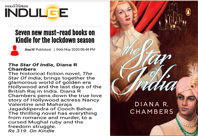 Proud to see @DianaRChambers's book 'The Star of India' featured on Indulge/Indian Express! Her book has been named as one of the seven new must-read books on kindle alongside Stephen King, John Grisham, Jennifer Weiner and other acclaimed authors.