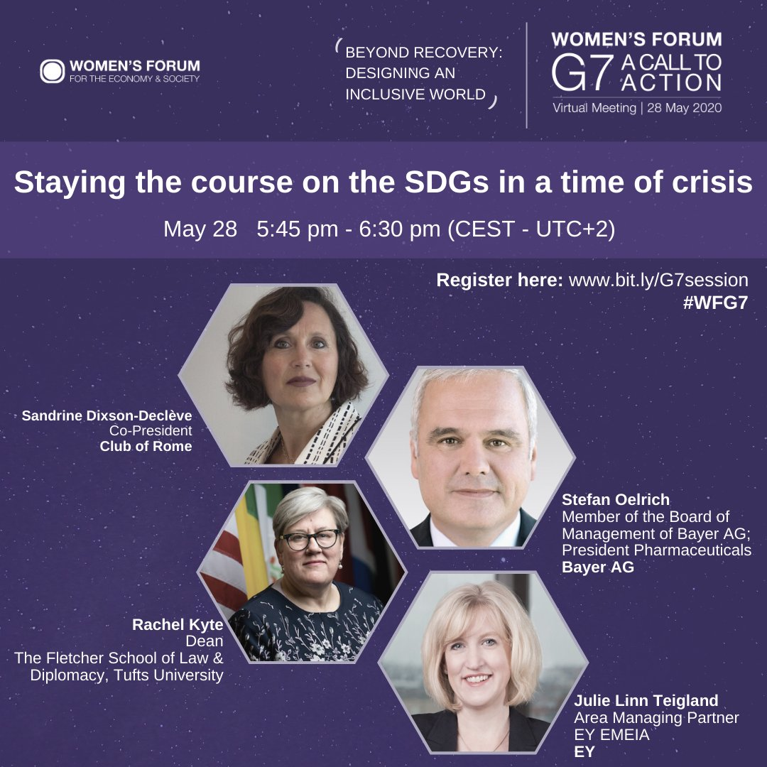 Staying the course on the SDGs in a time of crisis: Join the discussion with @SDDecleve, @stefanoelrich, @rkyte365 and @Julie_Teigland tomorrow at 5.45 CEST: events.womens-forum.com/g7-call-to-act…