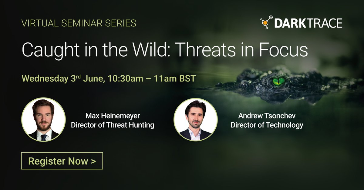 [Seminar] Join Darktrace experts, Maximilian Heinemeyer and Andrew Tsonchev, as they explore the real-world threats that Darktrace's Cyber #AI has uncovered in #SaaS platforms. Register for this seminar now: https://register.gotowebinar.com/register/1582112977008164107/?utm_source=twitter&utm_medium=social…pic.twitter.com/XCSEyMFsba