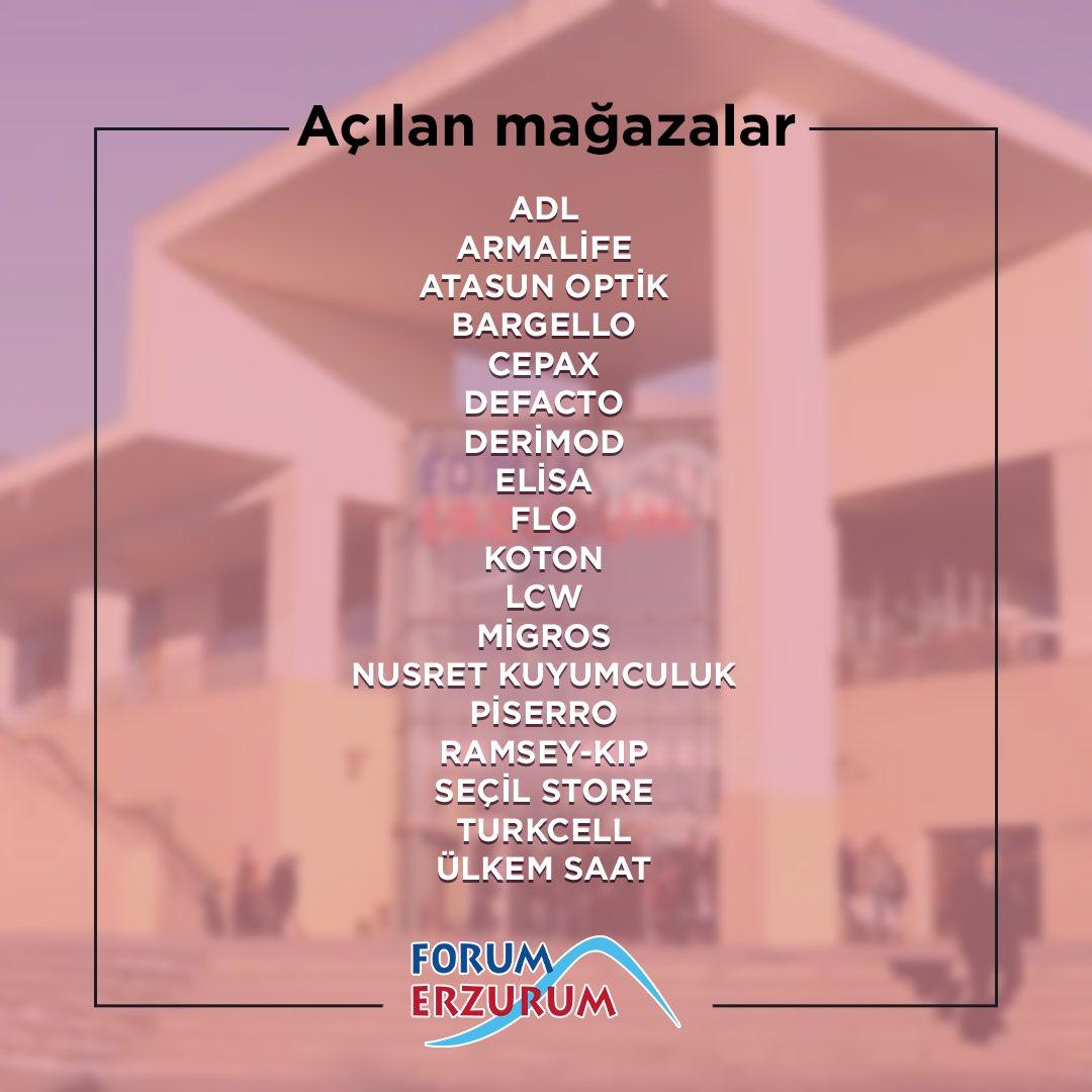 Bu hafta hizmete başlayan mağazalarımız ile Forum Erzurum'da buluşuyoruz! Mağazalarımızın saatleri kendi özelinde değişkenlik gösterip, AVM içerisindeki gelişmelerimizi Instagram hesabımızdaki story paylaşımlarımızdan takip edebilirsiniz. 🙏🏻 https://t.co/oal9b8AZK3