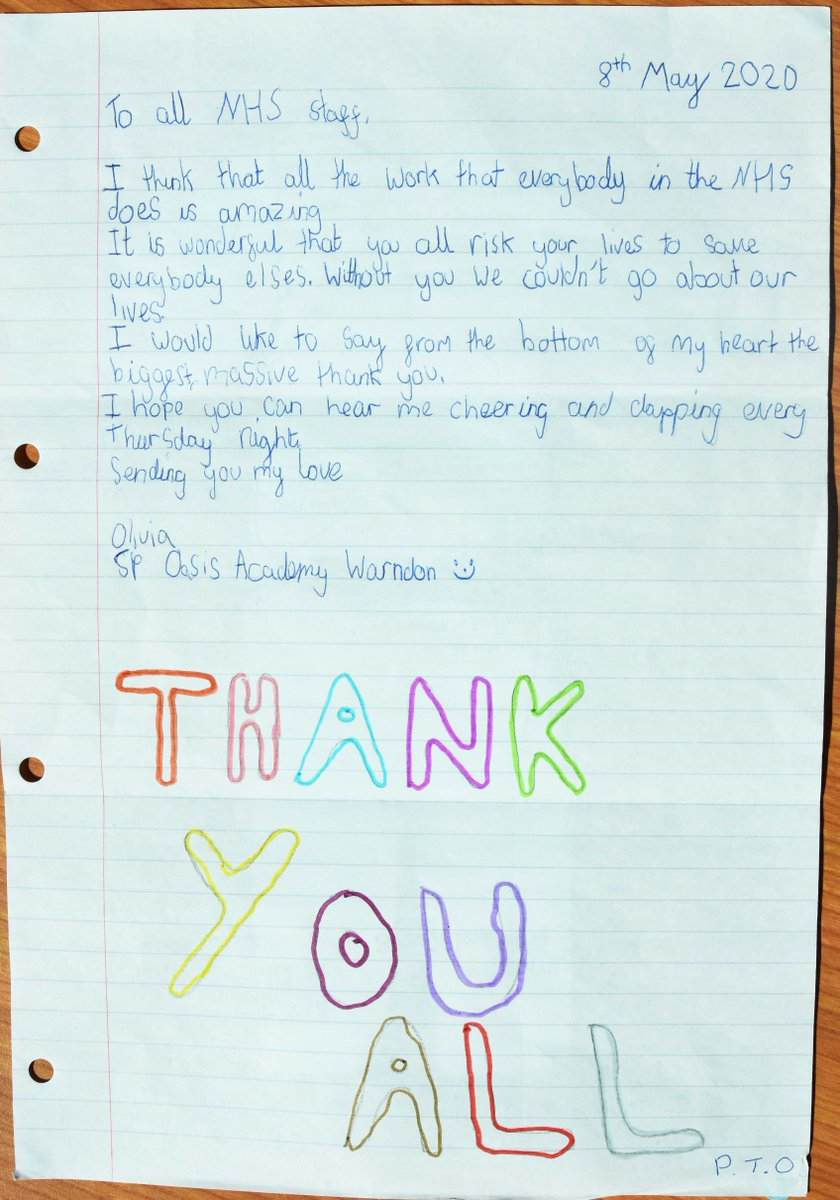 ✍️ This lovely thank you letter made our day! Its from Olivia, who just wanted say thank you to all our amazing staff ☺️👏 She also suggested a new uniform design🌈 💙