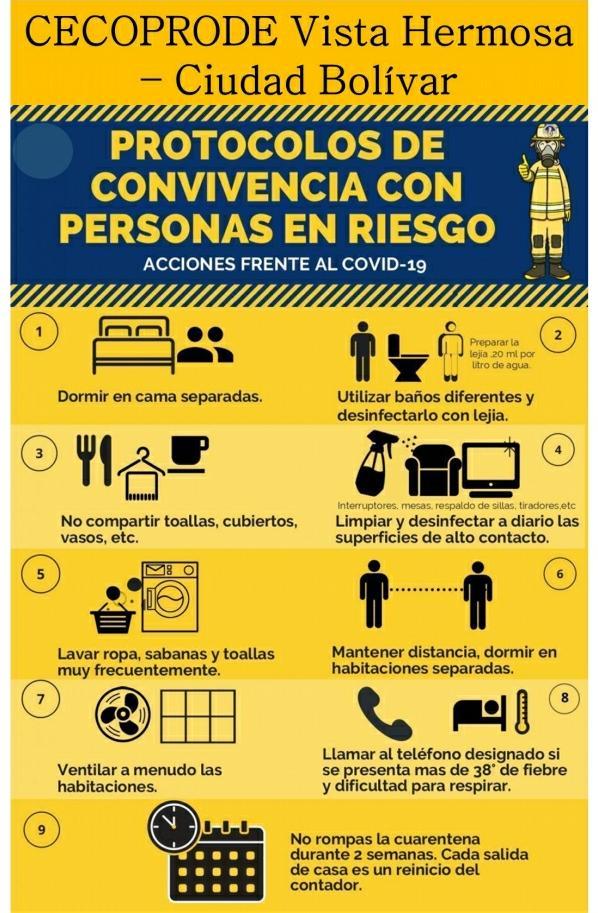 Protocolos de convivencia con personas en riesgo. Acciones frente al COVID-19  #CadaFamiliaUnaEscuela  #CiudadBolívar  #PrevenciónyPromocióndelaSaludpic.twitter.com/b0KaKTLxBp