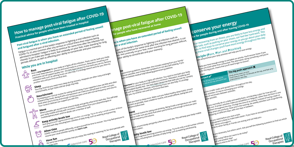 Are you supporting people recovering from #COVID19? Use our guides filled with practical advice on post-viral fatigue and conserving energy: rcot.co.uk/recovering-cov… Produced by @RCOT_TMH @CriticalCareOT with Yorkshire Fatigue Clinic and endorsed by @ICS_updates. #Rehabilitation