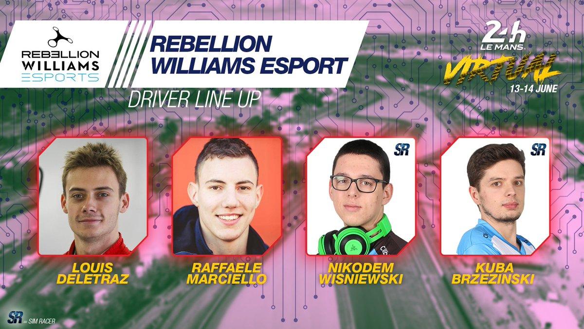 Another alliance! Please welcome the first @RebellionRacing x @WilliamsEsports racing squad. @LouisDeletraz, Raffaele Marciello, Nikodem Wisniewski and Kuba Brzezinski! Next in line please! 😏  #WEC #LeMans24Virtual https://t.co/VwaqrGbw8W