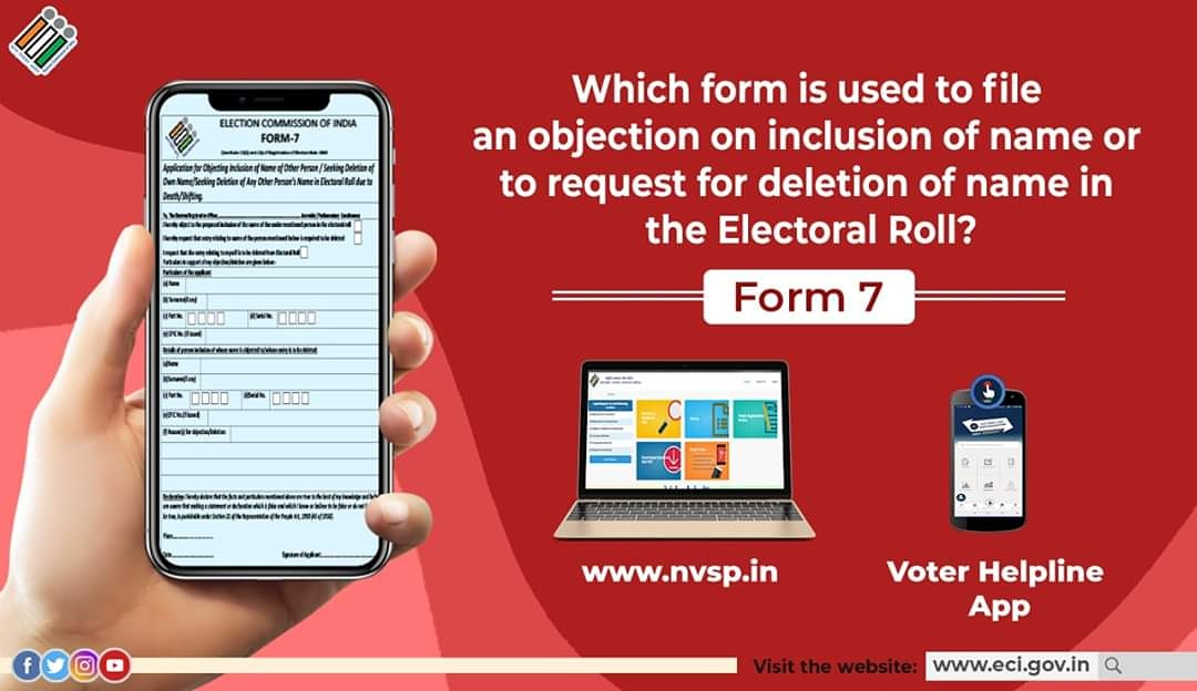 Form 7 is required to be filled to file an objection on inclusion of name or to request for deletion of name in the Electoral Roll.  Form 7 can be filled online at https://t.co/Y7f9in4Z62 or on Voter Helpline App.  #ElectionCommissionOfIndia #ECI https://t.co/ANCT2CM4Bn