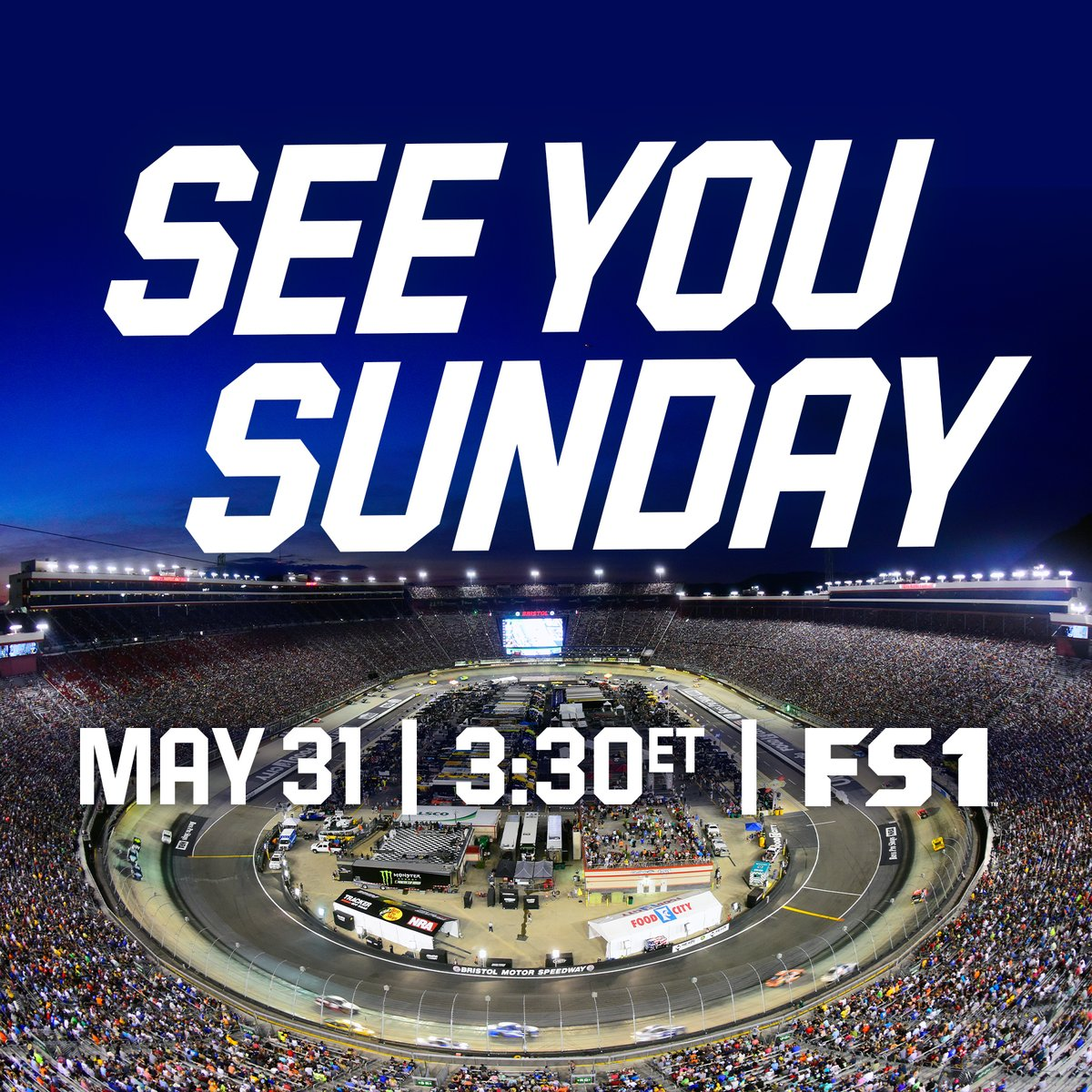 @TooToughToTame #ItsBristolBaby!   We'll tweet you on Sunday with a reminder before the NASCAR Cup Series race begins on FS1. https://t.co/2EZmh0Q0q1