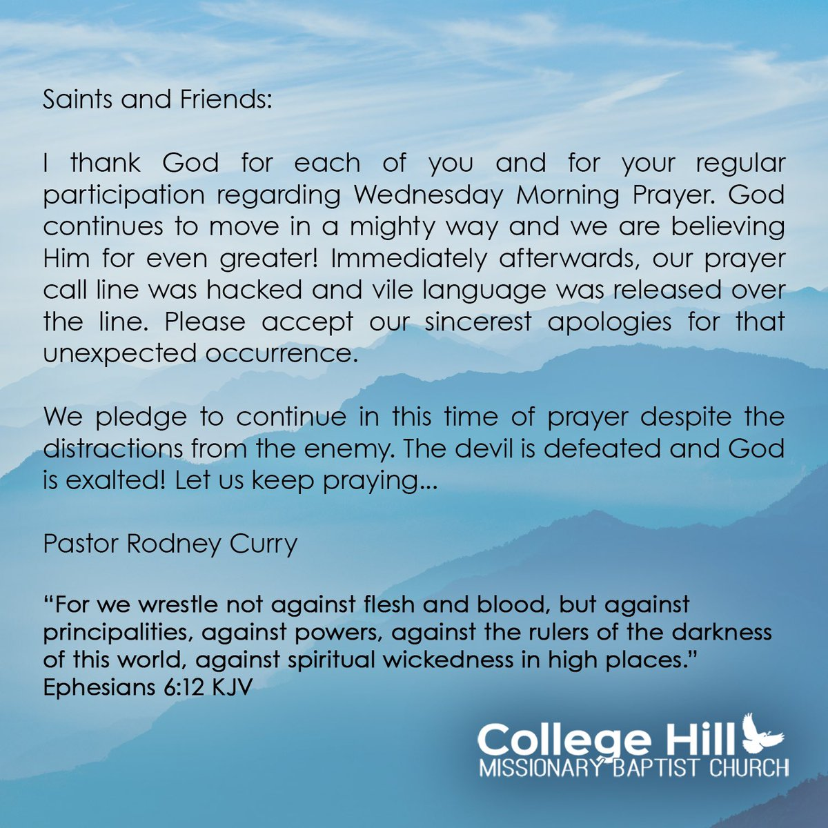 🖊 A statement from our Pastor Rodney Curry - @clefty1906  #announcement #IntercessoryPrayer #CHMBCPrayerCall #WorshipwithUs #collegehill #chmbc #tyler https://t.co/NfvbjPGcDl