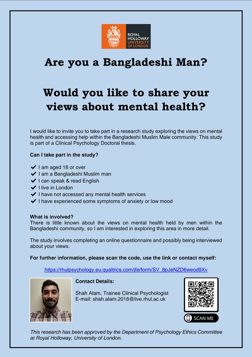 Hi, I am looking to recruit Bangladeshi men in London to take part in my doctoral research study. This involves a short questionnaire and a possible interview on mental health! See the link and image for details: rhulpsychology.eu.qualtrics.com/jfe/form/SV_8p… Thank you! #BME #research #mentalhealth